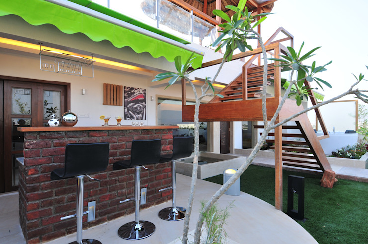 Tropical style balcony, porch & terrace by homify Tropical Bricks