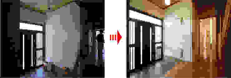 現代風玄關、走廊與階梯 根據 nano Architects 現代風 磁磚