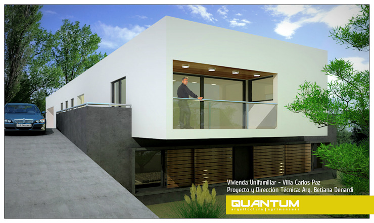 IMAGEN 3D - FACHADA NOROESTE - VIVIENDA COSTA AZUL Casas minimalistas de Betiana Denardi   Arquitecta Minimalista Vidrio