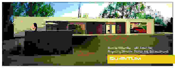 IMAGEN 3D - FACHADA NORESTE - VIVIENDA COSTA AZUL Casas minimalistas de Betiana Denardi   Arquitecta Minimalista Vidrio