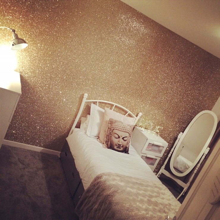 Champagne Gold Glitter Wallpaper por The Best Wallpaper Place - Moderno Têxtil Ambar/dourado