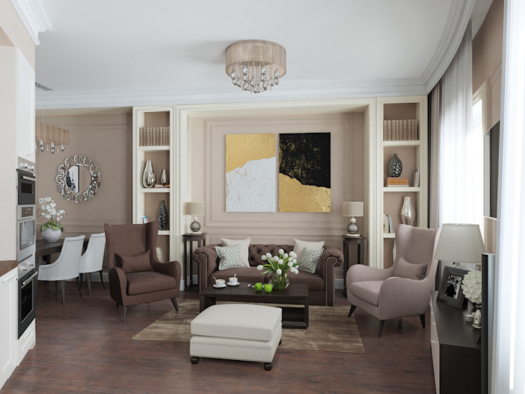 Визуализации проекта Удалёнки в Москве Гостиная в стиле модерн от Alyona Musina Модерн