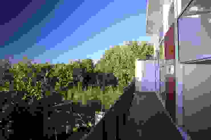 Varandas, alpendres e terraços minimalistas por Echauri Morales Arquitectos Minimalista Madeira Efeito de madeira
