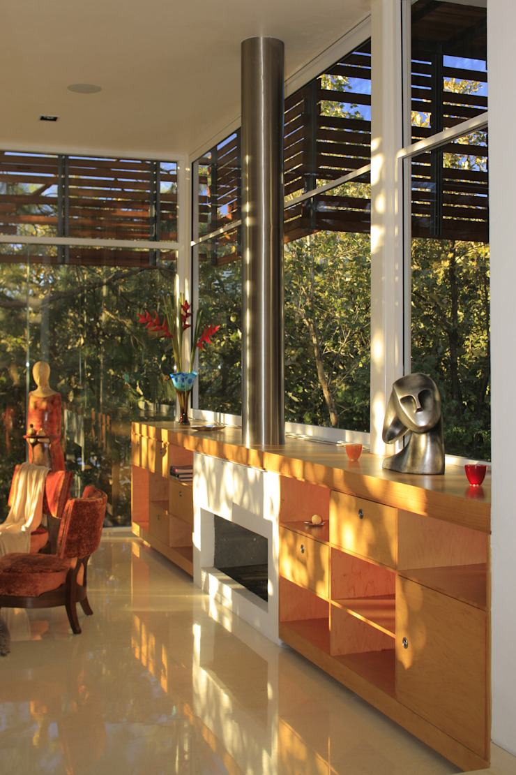 Salas de estar minimalistas por Echauri Morales Arquitectos Minimalista Madeira Efeito de madeira