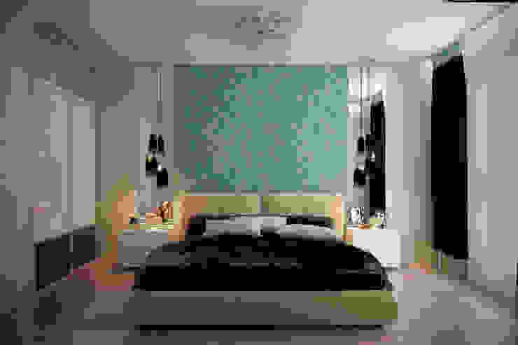 """Дизайн спальни в квартире в ЖК """"Большой"""" Спальня в стиле минимализм от Студия интерьерного дизайна happy.design Минимализм"""