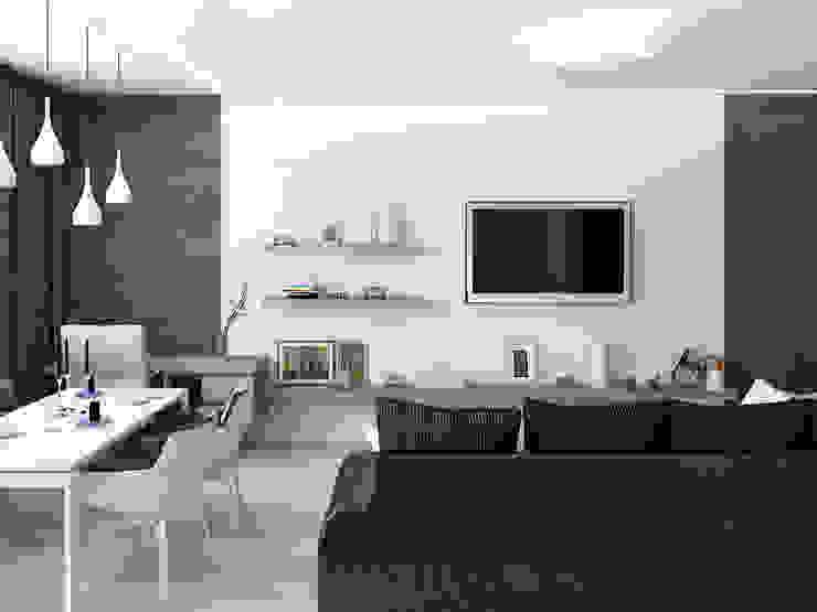 Квартира для холостяка в минималистическом стиле Гостиная в стиле минимализм от Tatiana Zaitseva Design Studio Минимализм