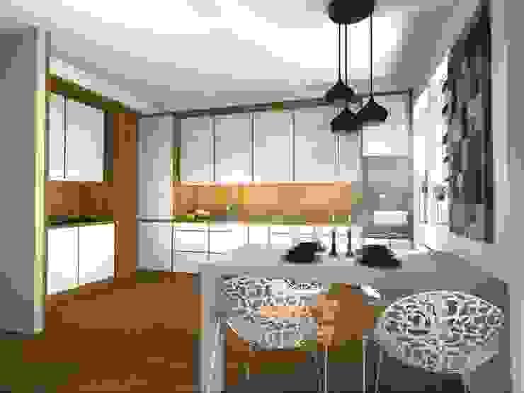 Kuchnia z jadalnią Nowoczesna kuchnia od Pat-Art wnętrza & design Patrycja Madejska Nowoczesny Drewno O efekcie drewna
