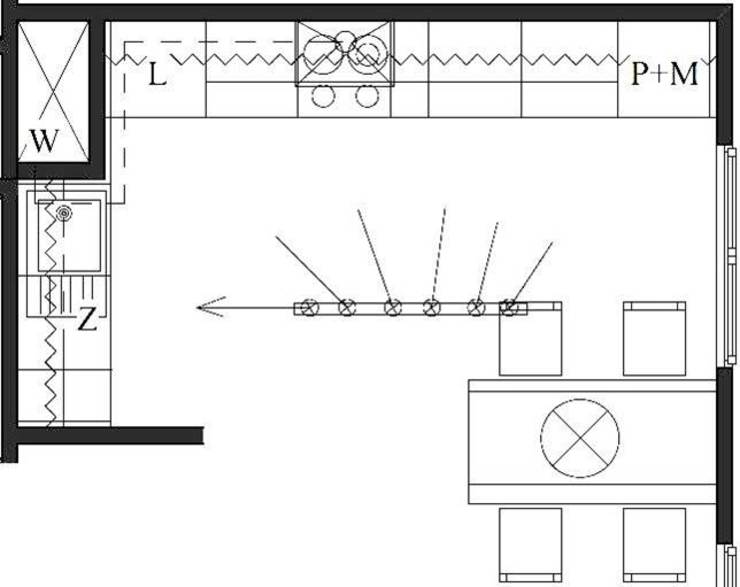 Rzut kuchni, projekt funkcjonalny Nowoczesna kuchnia od Pat-Art wnętrza & design Patrycja Madejska Nowoczesny