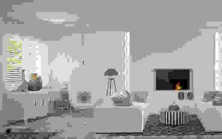 Salas de estar mediterrânicas por Ludwinowska Studio Architektury Mediterrânico