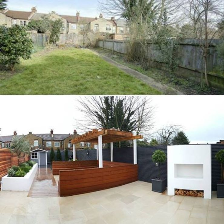 Before and After - Transformation of dull garden into a fresh contemporary space perfect for Alfresco Dining by IS AND REN STUDIOS LTD
