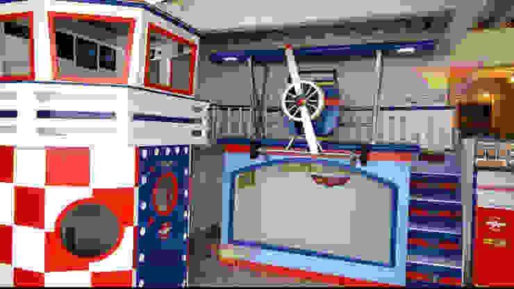 Fabulosa litera con avión y torre de control de Kids Wolrd- Recamaras Literas y Muebles para niños Clásico Derivados de madera Transparente