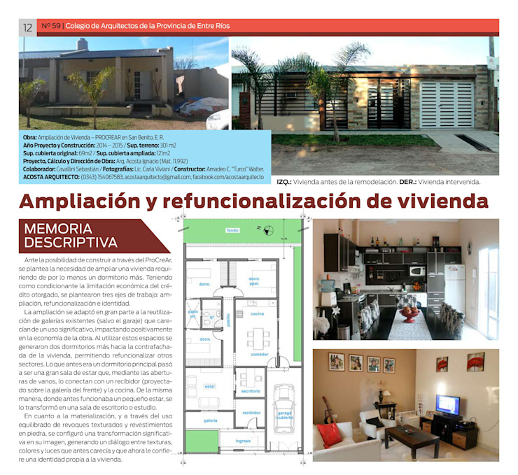 Publicación en Revista ESPACIOS (N° 59 - Octubre 2015) del Colegio de Arquitectos de la Provincia de Entre Ríos, Argentina. de AA - Estudio de arquitectura