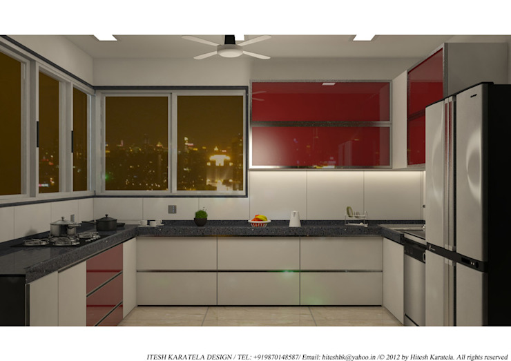 PIROZE PALACE SAMPLE FLAT HK ARCHITECTS Modern kitchen