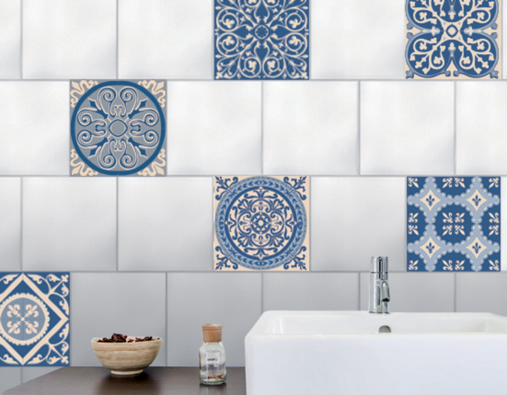 Tiling makeover : Fake blue cement tiles por Wall Sweet Home - Plage SA Mediterrâneo Plástico