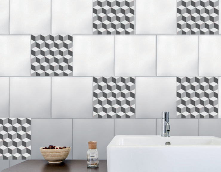 Tiling in 3D effect : shades of grey von Wall Sweet Home - Plage SA Skandinavisch Plastik
