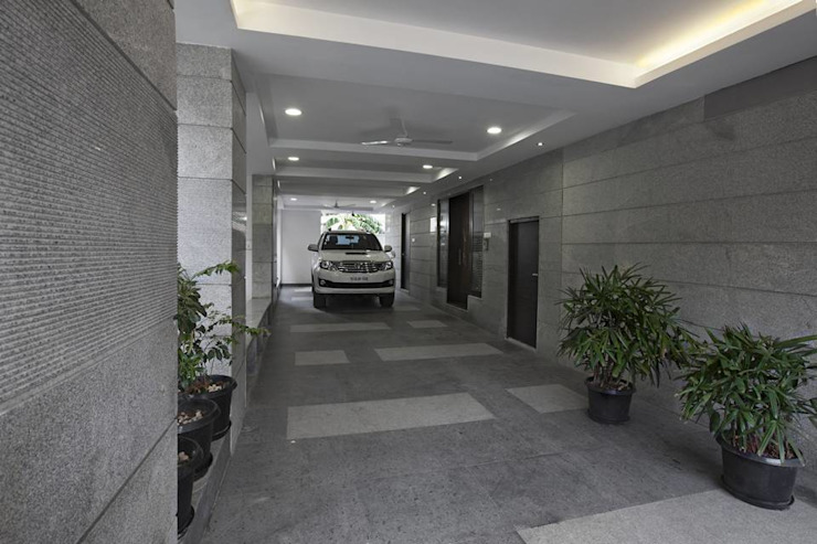 Car porch Modern balcony, veranda & terrace by Ansari Architects Modern