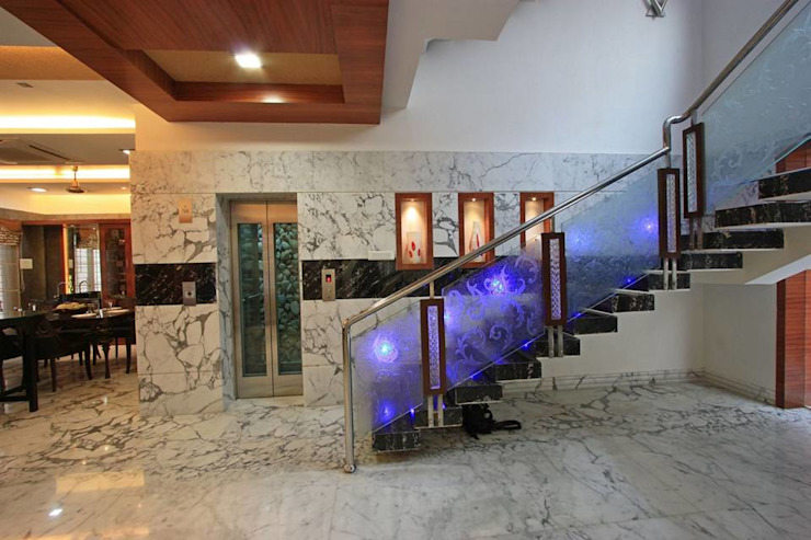 Staircase & lift Modern corridor, hallway & stairs by Ansari Architects Modern