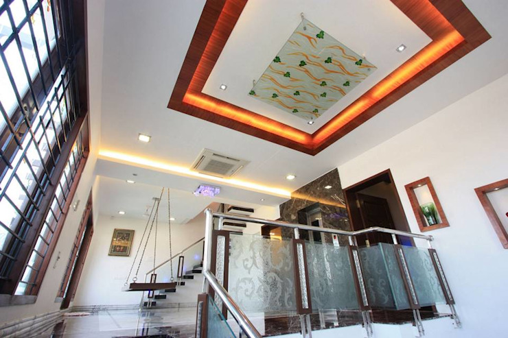 False ceiling Modern corridor, hallway & stairs by Ansari Architects Modern