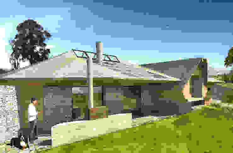 Vista de la fachada posterior y el jardín interior Casas de estilo rural de ARMarquitectura Rural