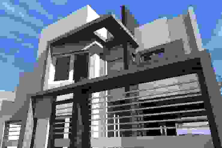 Perspectiva Fachada desde planta baja Casas modernas: Ideas, imágenes y decoración de NLA Arquitectura Moderno