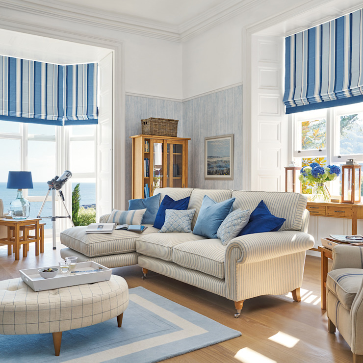 Laura Ashley Decoración Ruang Keluarga Gaya Mediteran Blue