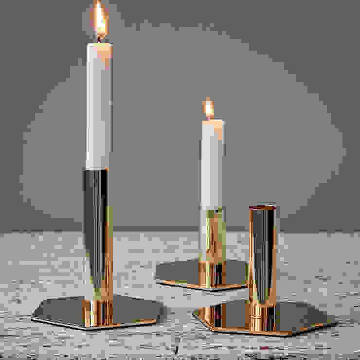 Set of Three Gold Hexagon Candlesticks by Hubsch od rigby & mac Eklektyczny Matal