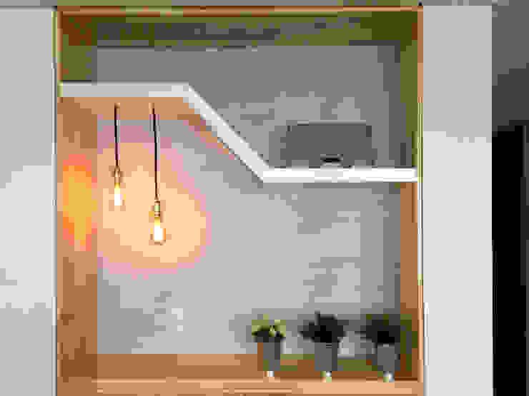 Detalle de entrepaño asimétrico para decoración, sonido e iluminación de ALSE Taller de Arquitectura y Diseño Moderno