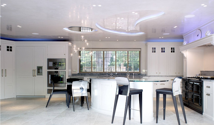 LED lights controlled by a Control4 smart home system New Wave AV Modern kitchen White