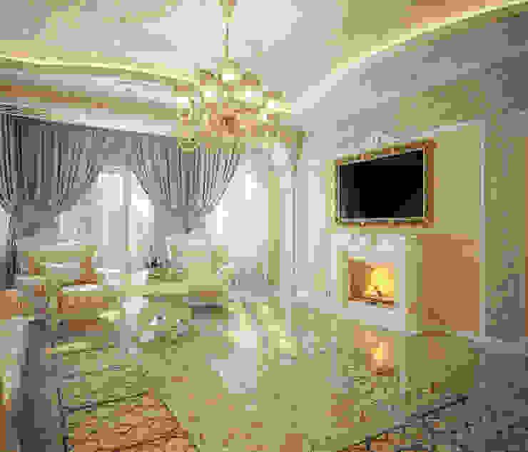 Проект 2х этажного дома в Курске-2 Гостиная в классическом стиле от Инна Михайская Классический