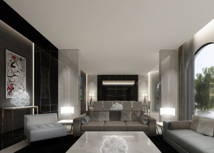 Interior Design & Architecture by IONS DESIGN Dubai,UAE IONS DESIGN ห้องนั่งเล่น