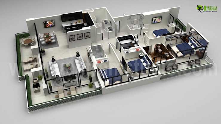 Architectural 3D Floor Plan | Interior Designer por Yantram Architectural Design Studio