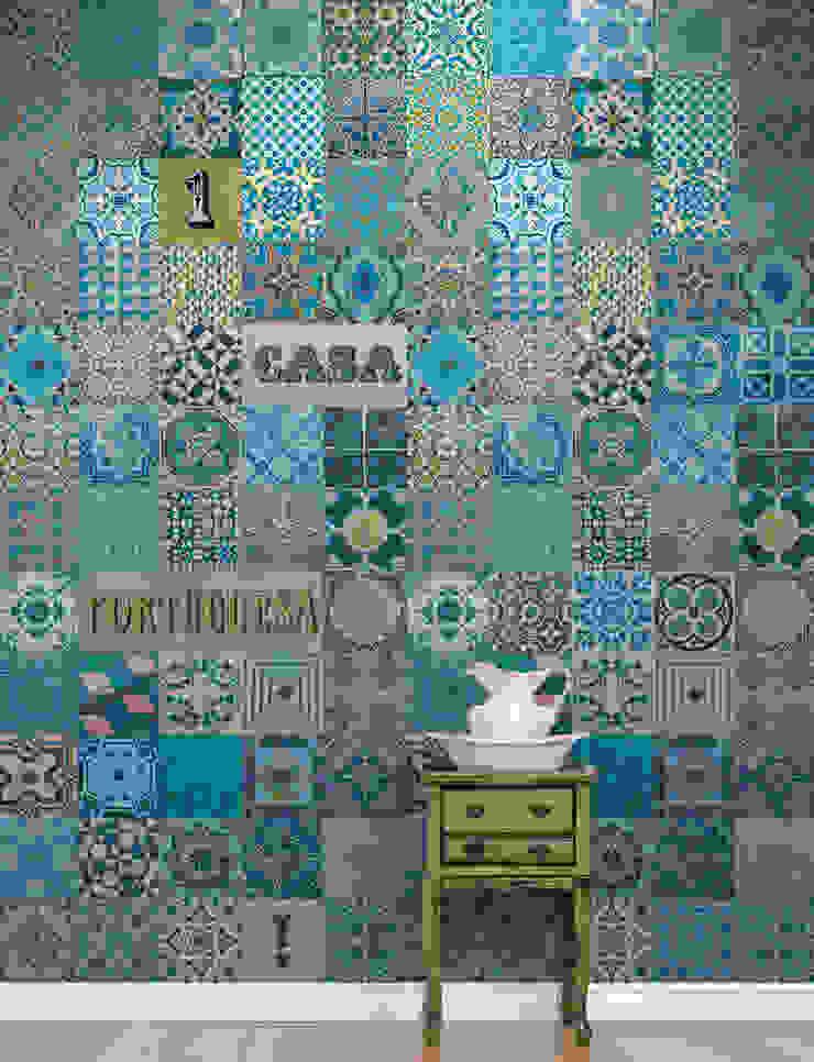 Azulejo Português Azul por OH Wallpaper Moderno Papel