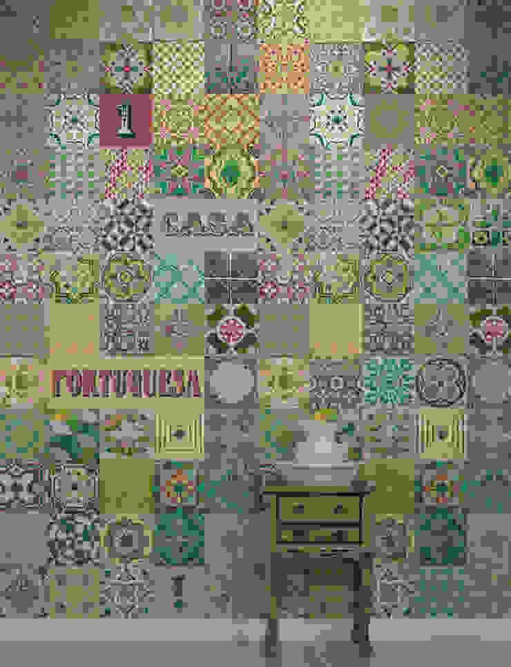 Azulejo Português Verde por OH Wallpaper Moderno Papel