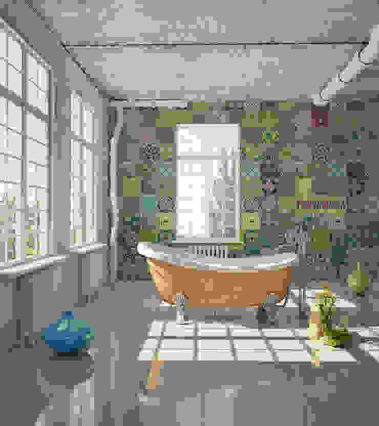 Azulejo Português Coordenado Verde por OH Wallpaper Moderno Papel