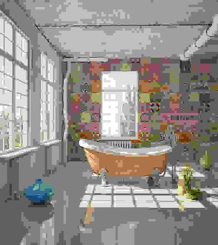 Azulejo Português Coordenado Laranja por OH Wallpaper Moderno Papel
