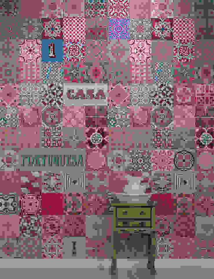 Azulejo Português Rosa por OH Wallpaper Moderno Papel