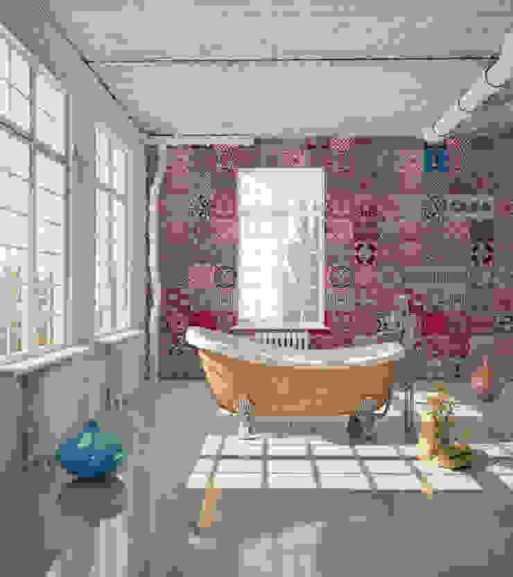 Azulejo Português Coordenado Rosa por OH Wallpaper Moderno Papel