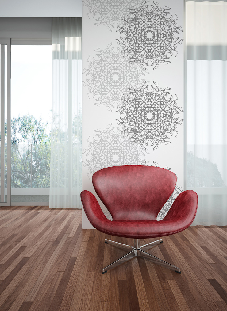 Filigrana Bolas Cinzento por OH Wallpaper Moderno Papel