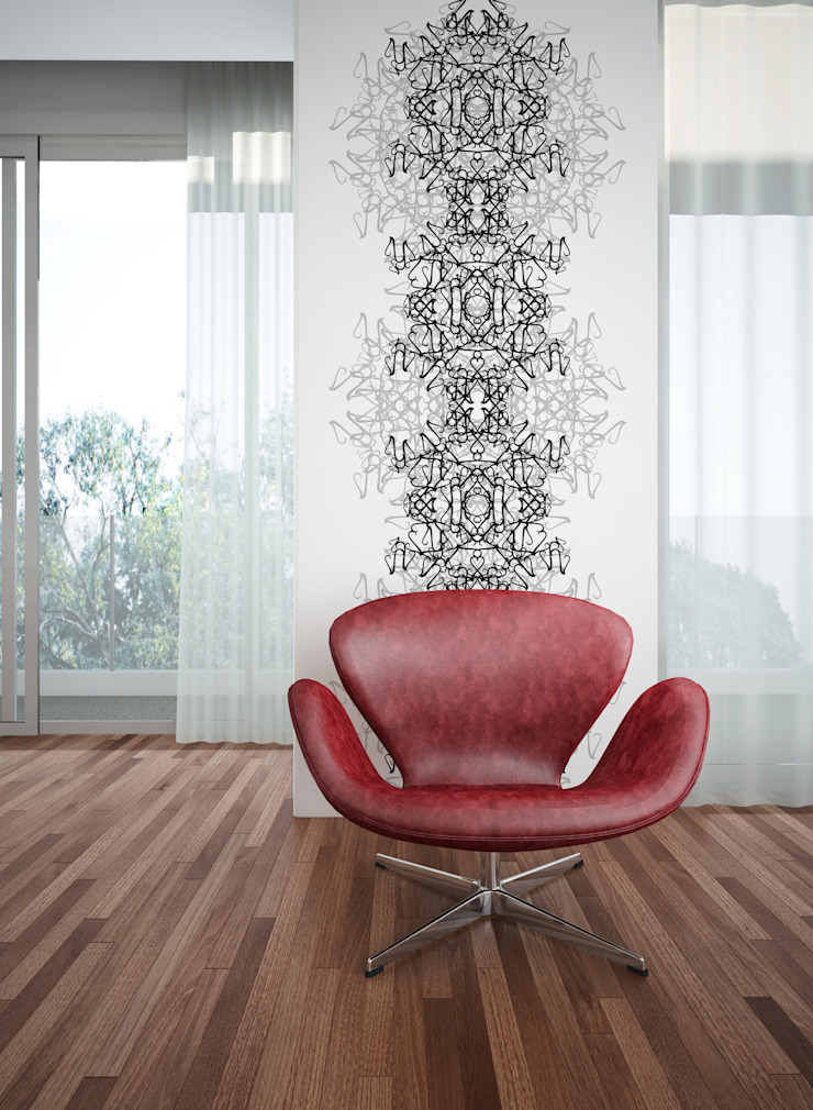 Filigrana Bola Preto e Cinzento por OH Wallpaper Moderno Papel
