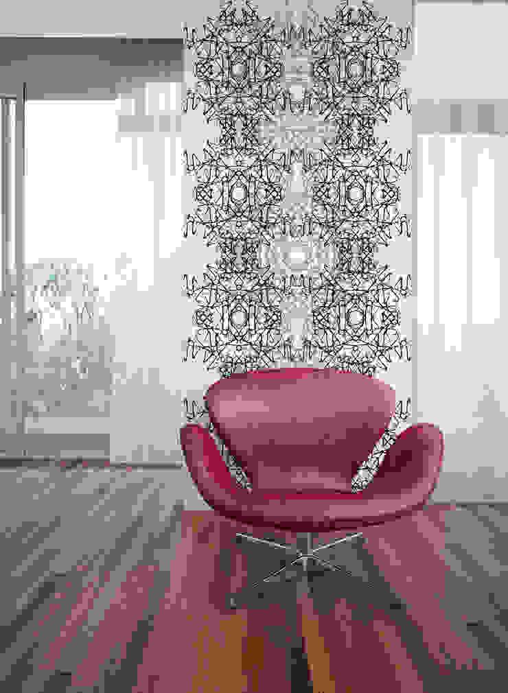 Filigrana Preto e Cinzento por OH Wallpaper Moderno Papel