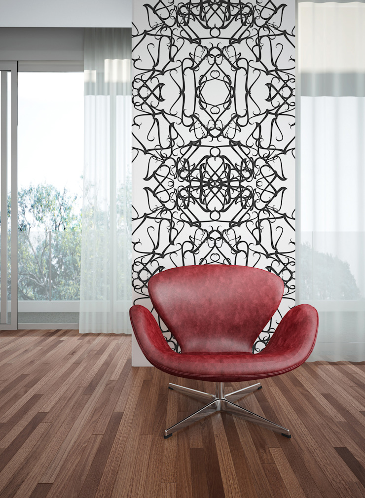 Filigrana Preto por OH Wallpaper Moderno Papel