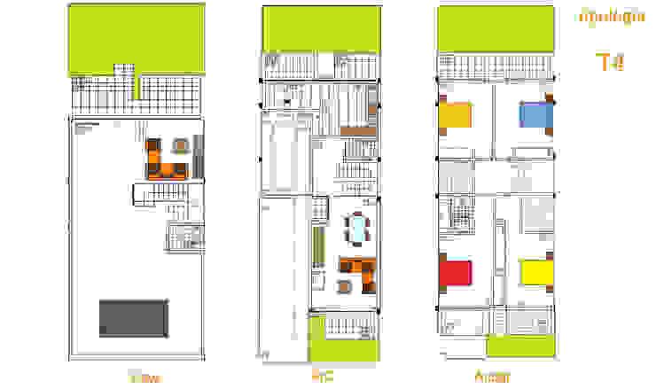 Planta Paredes e pisos modernos por Construções Couto Monteiro Moderno