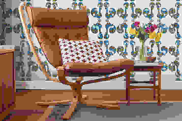 Azulejo Meets Galo Branco por OH Wallpaper Moderno Papel