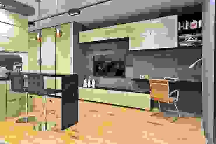 Вид на стену с рабочим местом и ТВ Медиа комната в скандинавском стиле от Pure Design Скандинавский