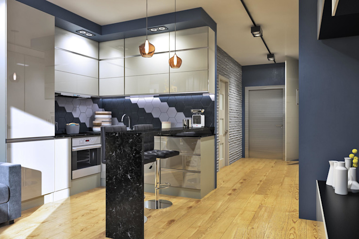 Вид на кухню и часть прихожей Кухня в скандинавском стиле от Pure Design Скандинавский Кирпичи