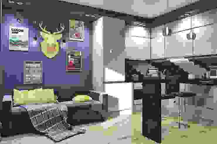 Вид на спальное место(диван) и кухню Кухня в скандинавском стиле от Pure Design Скандинавский