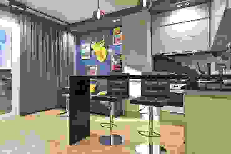 Вид на барную стойку Кухня в скандинавском стиле от Pure Design Скандинавский