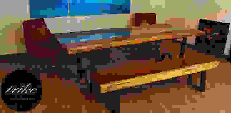 Mesa madera de Parota:  de estilo colonial por Trike Interiorismo, Colonial Madera maciza Multicolor