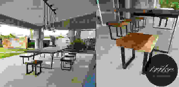 Mesa y bancas de madera:  de estilo colonial por Trike Interiorismo, Colonial Madera maciza Multicolor