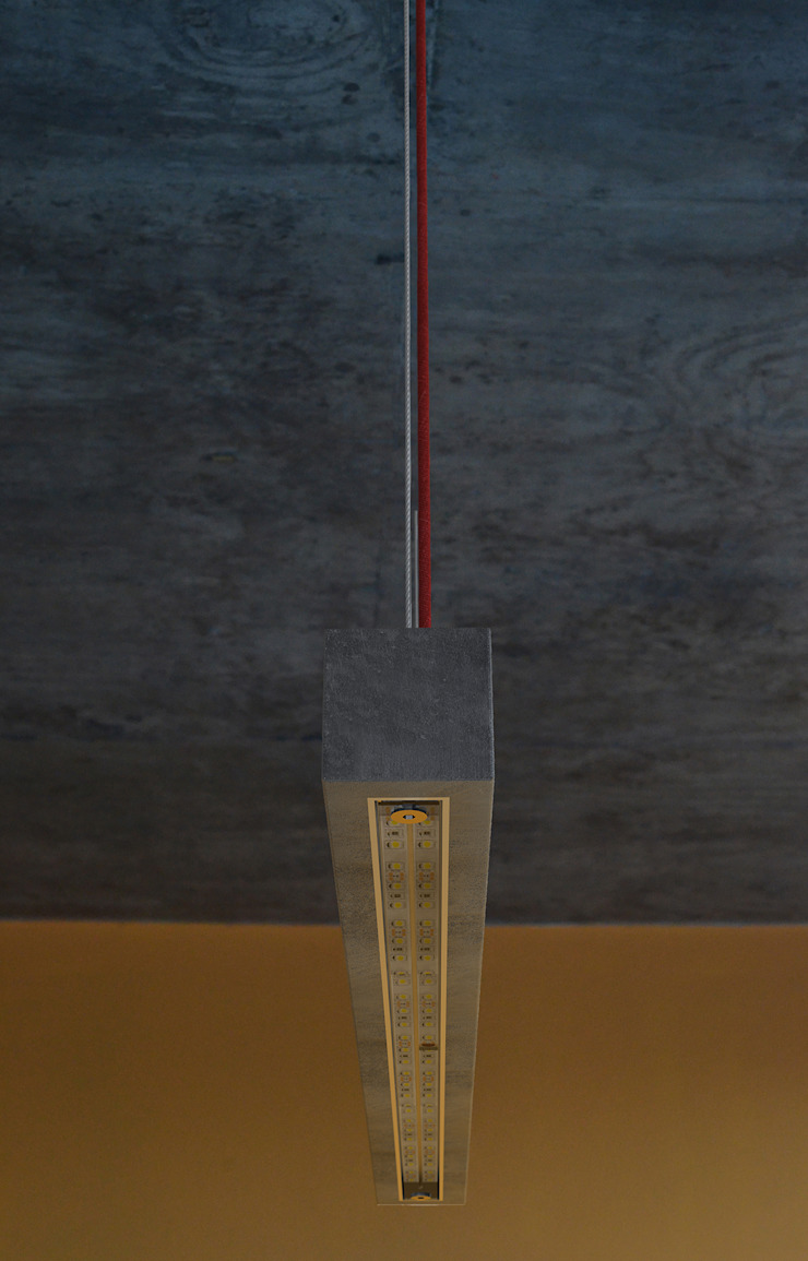 Hº2 - Lampara de Colgar de Concreto LED 4 de Estudio Indo Minimalista Concreto reforzado